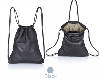 Black leather backpack - Multi-way leather bag SALE leather handbag leather tote bag leather satchel rucksack hobo bag