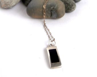 Black Stone - Pendant Necklace - Repurposed Jewelry - Sterling Silver