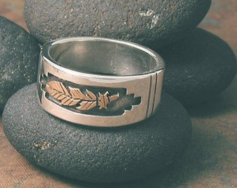 14k Gold and Sterling Silver Eagle Feather Ring