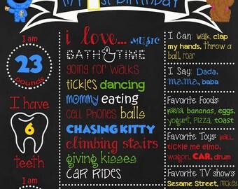 Personalized Sesame Street Birthday Chalkboard sign