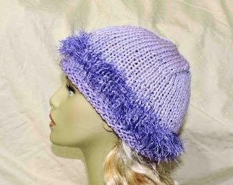Hand Knit Purple Beanie With Deep Purple Eyelash Yarn Accent