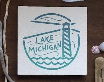 Lake Michigan 8 x 8 Canvas Screen Printed Home Decor Wall Art
