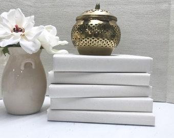 Cream Fabric Covered Decorative Books for Shelf Decor (Set of 5)