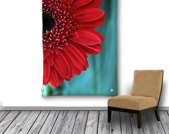Red Flower Tapestry, Floral Wall Hanging, Tapestry Wall Hanging, Red and Teal Floral Photo Tapestry, Bohemian Wall Decor, Dorm Room Decor
