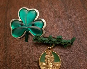 Erin Go Bragh:  Lot of 2 Vintage St. Patrick's Day Pins-Shamrock Pin and St. Patrick Erin Go Bragh Pin