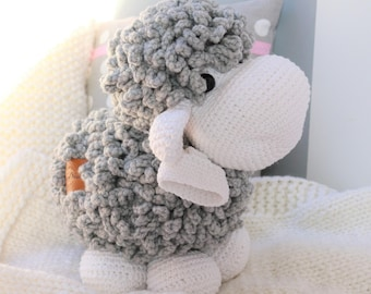 BIG XL Crocheted Sheep Plush, Sweet Sheep Stuffed Animal Toy, Sheep Plushie, Sheep Soft Toy, Crochet Lamb