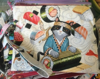 Sushi Cats - Zippered Pouch Wristlet