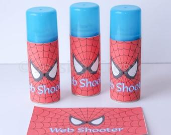 Spider-man Web Shooter Label - Spiderman Label - Instant Download - Spider-man Silly String - Superhero - Superhero Birthday - Spiderman