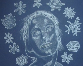 Colored Pencil Drawing on Canson Paper Titled Winter with Winter Goddess and Snowflakes