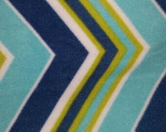 Blue and Teal Chevron Fleece Blanket