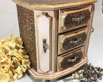 A Leopard Jewelry Box, Large Jewelry Box Armoire Hand Painted With Pink  Chalk Paint,