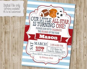 Birthday Invitation , All Star Birthday Invitation, Sports Birthday Invitation, Sports Theme, All Star Birthday