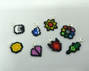Pokemon Indigo League Inspired Hama Bead Gym Badges