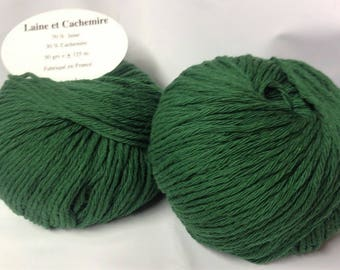 5 balls bottle green cashmere and wool /couleur / made in FRANCE