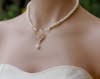 Rose Gold Pearl Necklace, Pearl Bridal Necklace, Rose Gold Y  Pearl Wedding Necklace, Bridal Jewelry, LUCY RGP