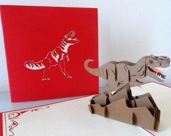 T-Rex Dinosaur Pop up Card-blank-birthday-children-fathers day (sku175)