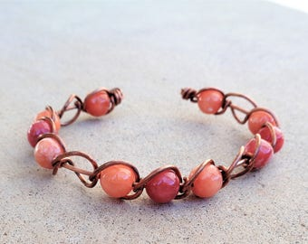 Copper Wire Wrapped Orange Pink Peach Quartzite Beaded Cuff Bracelet By Distinctly Daisy
