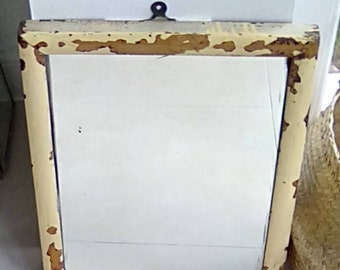 Vintage Rectangular Wooden Mirror Cottage Rustic Style Mid Century Distressed Old Painted Frame