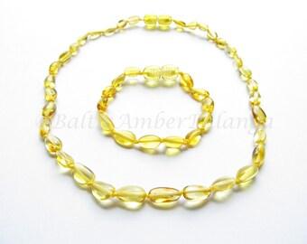 Baltic Amber Teething Necklace and Bracelet/Anklet Set, Olive Form Lemon Color Beads
