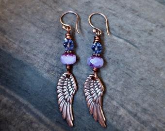 boho angel wing earrings, rustic angel wing earrings, copper earrings, purple angel wing earrings, religious earrings, bohemian earrings