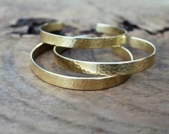Gold hammered brass stackable cuff bracelet, simple minimalist everyday jewelry, gold alternative