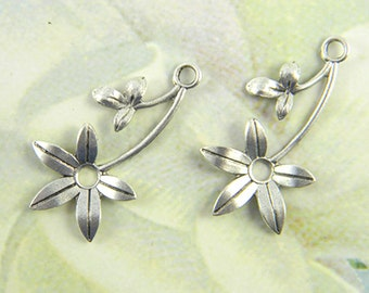 Antiqued Silver Flower, Brass Leaf Stamping, Flower Charm, Charm Drop 16mm x 30mm - 4 pcs. (sl143)