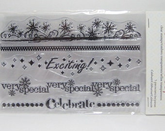 clear stamps set celebration stampology 4pc celebrate decorative borders exciting very special Paper Craft Projects Cards Scrapbook Pages