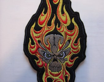 Embroidered Skull In Flames Iron On Patch, Skull Patch, Skull And Flames Patrch, Skeleton Patch, Iron On Patch