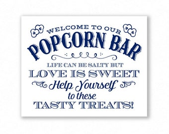 Navy Blue Printable Popcorn Bar Sign, Wedding Sign, Party, Life Can Be Salty But Love Is Sweet, #PC14N