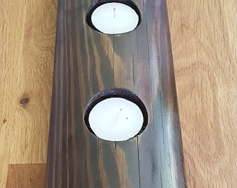 6 Tealight Holder Finished in Jacobean Dark Oak Wax