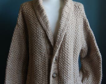 Hand knitted wool cardigan Vintage knit