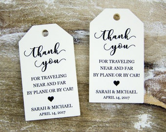 Thank You Tag - Wedding Favor Tag - Luggage Favor Tag - Wedding Favor - Custom Tags - Destination Wedding - SMALL 2 x 1.1 inch