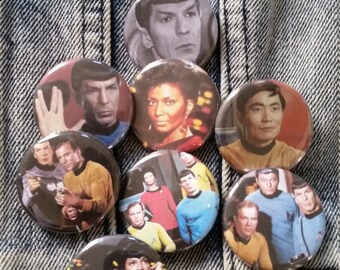 Your choice Star Trek show cast handmade 1-1/4 inch pinback button pin pins buttons pingame badge badges