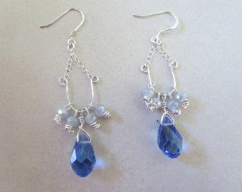 Blue Raindrop Earring/925 Sterling Silver/Swavroski Crystal Beads