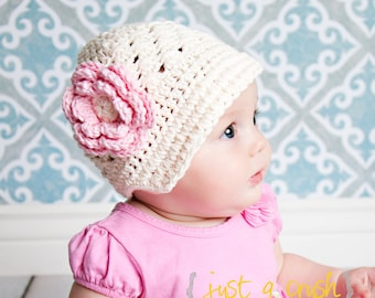 Baby Girl Hat, Crochet Baby Hat, Crochet Visor Beanie Hat, Cream and Pink, Newborn Crochet Hat, Baby Girl, Crochet Toddler Hat MADE TO ORDER