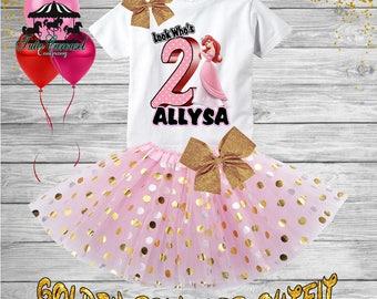 2nd Birthday Tutu Outfit, Ariel Little Mermaid Birthday Outfit, Birthday shirt, Tutu Set (gt69)