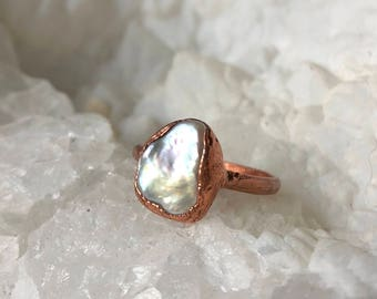Pearl Electroformed Ring- Size 7.5