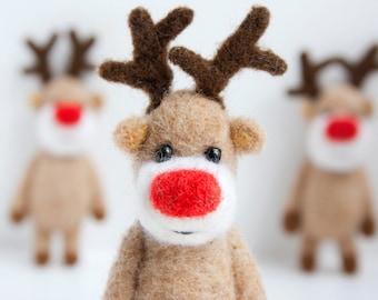 Renne feutré ornement de Noël