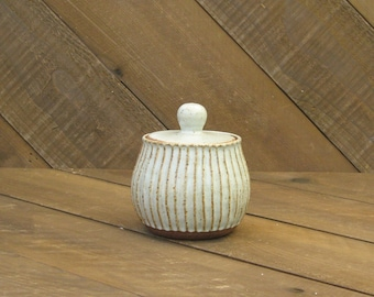 Carved Jar - Sugar Jar - Ceramic Jar - Small Jar - Matte White Glaze - Wheel Thrown - Reduction - Go Play Clay - Guiliotis - Made to Order