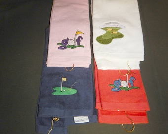 Golf Towels machine embroidered with grommet and hook