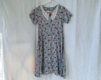 SALE 90s Floral Lace Collared SWAT Mini Dress