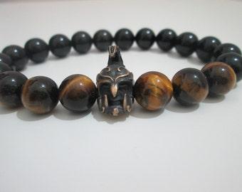 Elves bracelet, Onyx bracelet, Tiger eye bracelet, Elves helmet bracelet, Mens stone bracelet, Mens gift, Gift, Gift for men, Mens jewelry