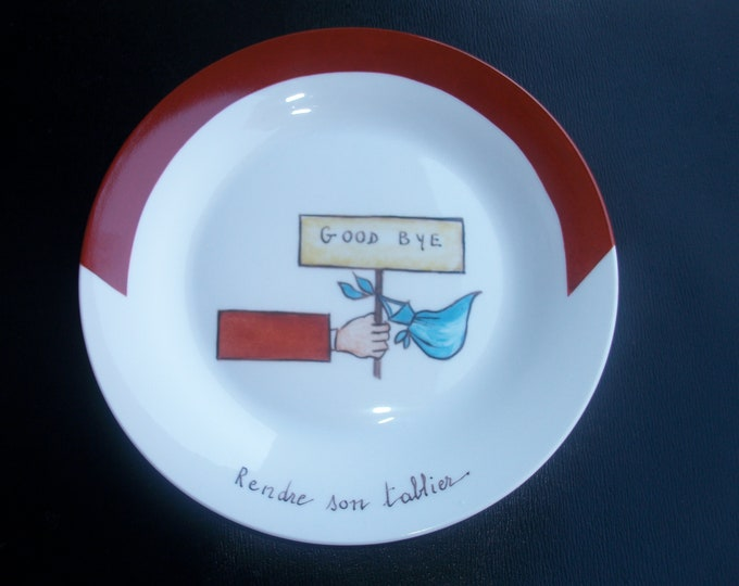 French craft / small plate /fromage / humorous /peinte hand on porcelain / theme French phrases