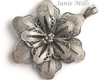 Sterling Silver Filigree Flower 41mm