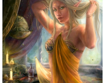 The Ambrosia Eaters Elf Fantasy Art Digital Painting artist proof 8x10  Illustration Print