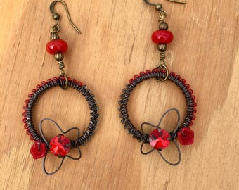 Lampwork and Brass Beaded Dangle Butterfly Earrings handmade summer srajd spring mothers day holiday