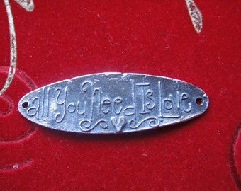 """925 sterling silver """"all you need is love"""" connector,silver large connector,silver oval connector, silver love connector,connector,"""