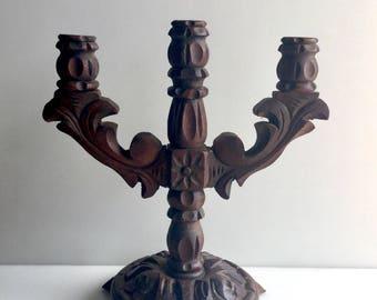 Wood CARVED 3 Candle Vintage Candelabra