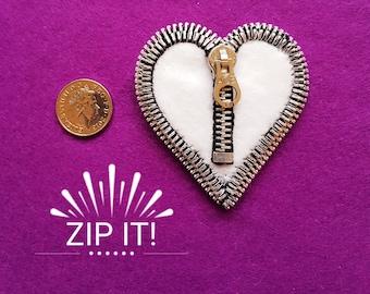 Handmade White Felt Heart Zipper Brooch
