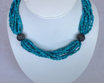 Twisted Multi-Strand Turquoise Beaded Necklace